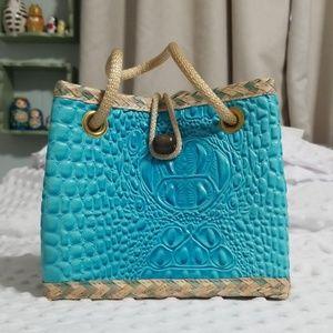 Vintage turquoise straw mini purse handmade